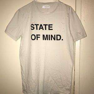 Zara ''State of Mind'' Distressed T-Shirt